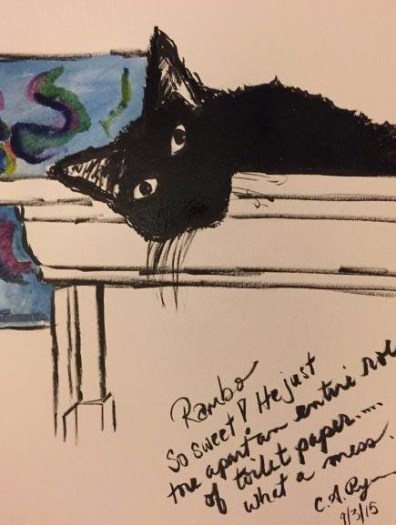 Water Color: Black Cats Rule (trouble)